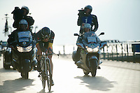 2013 winner & belgian TT champion Kristof Vandewalle (BEL) racing next to the beach<br /> <br /> 3 Days of West-Flanders 2014<br /> day 1: TT/prologue Middelkerke 7,0 km