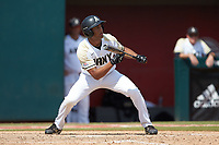 Anfernee Crompton (13) of the Army Black Knights squares to bunt during the game against the North Carolina State Wolfpack at Doak Field at Dail Park on June 3, 2018 in Raleigh, North Carolina. The Wolfpack defeated the Black Knights 11-1. (Brian Westerholt/Four Seam Images)