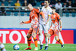Adelaide United Midfielder Isaias Sanchez (R) fights for the ball with Jeju United Forward Marcelo Toscano (L) during the AFC Champions League 2017 Group Stage - Group H match between Jeju United FC (KOR) vs Adelaide United (AUS) at the Jeju World Cup Stadium on 11 April 2017 in Jeju, South Korea. Photo by Marcio Rodrigo Machado / Power Sport Images