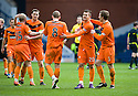 DUNDEE UTD PLAYER CELEBRATE AT THE END OF THE GAME