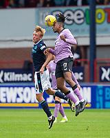 25th September 2021; Kilmac Stadium, Dundee, Scotland: Scottish Premiership football, Dundee versus Rangers; Joe Aribo of Rangers wins the header from Max Anderson of Dundee