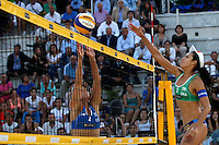 Jennifer Kessy, of the United States, left, in action against Brazil's Talita Antunes da Rocha during the women's final match between Brazil and United States at the Beach Volleyball World Tour Grand Slam, Foro Italico, Rome, 23 June 2013. Brazil defeated United States 2-1.<br /> UPDATE IMAGES PRESS/Isabella Bonotto