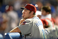 Clearwater Threshers outfielder Chase Harris (3) in the dugout during a game against the Dunedin Blue Jays on April 10, 2015 at Florida Auto Exchange Stadium in Dunedin, Florida.  Clearwater defeated Dunedin 2-0.  (Mike Janes/Four Seam Images)