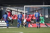 Jordan Slew of Morecambe goes close during Maldon & Tiptree vs Morecambe, Emirates FA Cup Football at the Wallace Binder Ground on 8th November 2020
