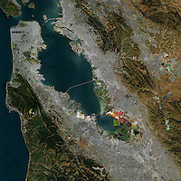 aerial overview photo map of San Francisco Bay Area, California