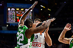 Real Madrid's player Felipe Reyes and Unics Kazan's player Latavious Williams during match of Turkish Airlines Euroleague at Barclaycard Center in Madrid. November 24, Spain. 2016. (ALTERPHOTOS/BorjaB.Hojas)