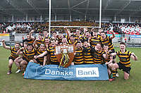 Friday 17th March 2017 | ULSTER SCHOOLS CUP FINAL<br /> <br /> RBAI skipper Michael Lowry and his team celebrate with the famous trophy after the Ulster Schools Cup Final between RBAI and MCB at Kingspan Stadium, Ravenhill Park, Belfast, Northern Ireland.<br /> <br /> Photograph by John Dickson | www.dicksondigital.com