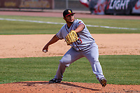 Quad Cities River Bandits pitcher Abdiel Saldana (13) delivers a pitch during a Midwest League game against the Wisconsin Timber Rattlers on April 9, 2017 at Fox Cities Stadium in Appleton, Wisconsin.  Quad Cities defeated Wisconsin 17-11. (Brad Krause/Four Seam Images)