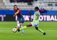 REIMS, FRANCE - JUNE 8: Ingrid Moe Wold #2 of Norway tries to cross the ball away from Francisca Ordega #17 of Nigeria during a 2019 FIFA Women's World Cup match between Norway and Nigeria at Stade Auguste-Delaune on June 8, 2019 in Reims, France.