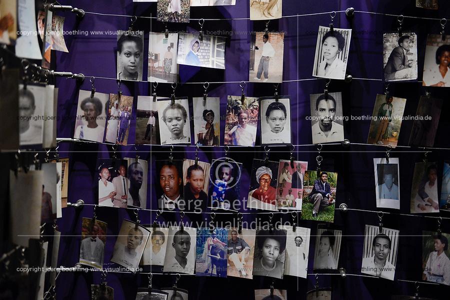 RWANDA, Kigali, Kigali Genocide Memorial , a museum and memorial to remember the genocide of 1994 where about 1 million Tutsi were murdered by Hutu, family images of murdered Tutsi victims / RUANDA, Kigali, Voelkermorddenkmal, Museum, Denkmal und Ruhestaette fuer 250.000 Opfer des Genozids an der Tutsi Bevoelkerungsgruppe im Jahr 1994, Kigali Genocide Memorial, Familienfotos ermordeter Tutsi