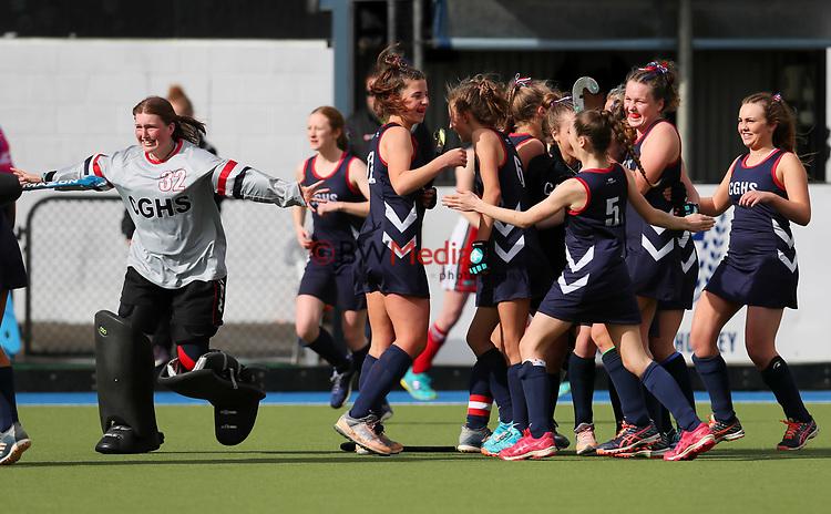 Christchurch Girls High celebrate defeating St Margarets College. Federation Cup Hockey semi-final, Lloyd Elsmore Park, Auckland, New Zealand, Friday 6 September 2019. Photo: Simon Watts/www.bwmedia.co.nz/HockeyNZ