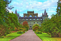 A view looking up the main walkway to beautiful Inveraray Castle in Scotland.
