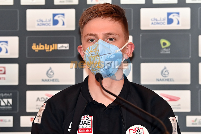 Tadej Pogacar (SLO) UAE Team Emirates at the top riders press conference before the 2021 UAE Tour held at Yas Marina Hotel, Yas Island, Abu Dhabi, UAE.   <br /> Picture: LaPresse/Gian Mattia D'Alberto | Cyclefile<br /> <br /> All photos usage must carry mandatory copyright credit (© Cyclefile | LaPresse/Gian Mattia D'Alberto)