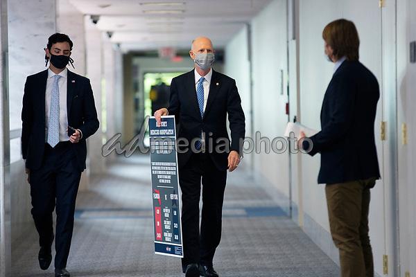 United States Senator Rick Scott (Republican of Florida) arrives to GOP policy luncheons on Capitol Hill in Washington D.C., U.S., on Tuesday, June 2, 2020.  Credit: Stefani Reynolds / CNP/AdMedia