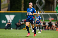TACOMA, WA - JULY 31: Eugenie Le Sommer #9 of the OL Reign looks on\ during a game between Racing Louisville FC and OL Reign at Cheney Stadium on July 31, 2021 in Tacoma, Washington.
