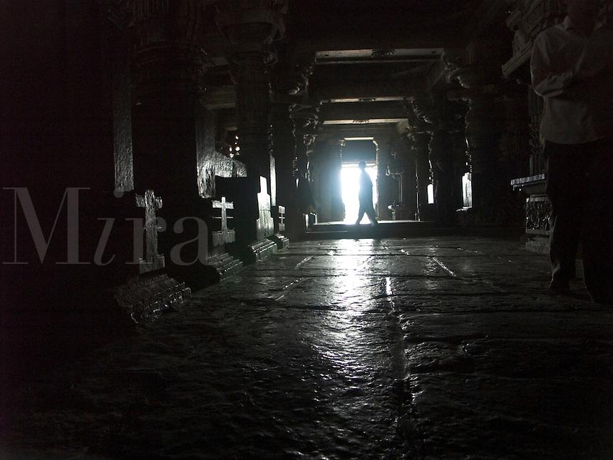 Pilgrims at Hindu religious temple at Halebid, India