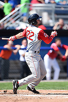 Lowell Spinners third baseman Jordan Betts (22) at bat during a game against the Batavia Muckdogs on July 17, 2014 at Dwyer Stadium in Batavia, New York.  Batavia defeated Lowell 4-3.  (Mike Janes/Four Seam Images)
