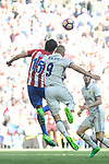 Real Madrid's Karim Benzema and Atletico de Madrid's Stefan Savic during La Liga match between Real Madrid and Atletico de Madrid at Santiago Bernabeu Stadium in Madrid, April 08, 2017. Spain.<br /> (ALTERPHOTOS/BorjaB.Hojas)
