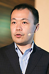 Kenichi Yoshida, vice president of business development for SoftBank Robotics speaks at Pepper for Biz 2.0 on July 20, 2016, Tokyo, Japan. Yoshida along with other guests spoke about the new features of Pepper such as Chinese response and speech recognition, and duty free tax refunds and electronic payments services, in response to business needs. The presentation was held a day before the start of Pepper World 2016 exhibition, where developers will introduce applications for SoftBank's robot Pepper. Pepper World will run until July 22. (Photo by Rodrigo Reyes Marin/AFLO)