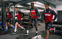 (L-R) Tom Carroll, Alfie Mawson, Tammy Abraham and Kyle Naughton exercise in the gym during the Swansea City Training at The Fairwood Training Ground, Swansea, Wales, UK. Wednesday 16 August 2017