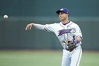 Winston-Salem Dash second baseman Nick Madrigal (3) makes a throw to first base against the Lynchburg Hillcats at BB&T Ballpark on May 9, 2019 in Winston-Salem, North Carolina. The Dash defeated the Hillcats 4-1. (Brian Westerholt/Four Seam Images)