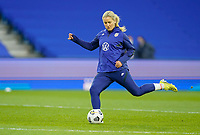 LE HAVRE, FRANCE - APRIL 13: Lindsey Horan #9 of the United States warming up before a game between France and USWNT at Stade Oceane on April 13, 2021 in Le Havre, France.