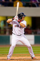 Ryan Lavarnway #36 of the Pawtucket Red Sox at bat against the Charlotte Knights at McCoy Stadium on June 14, 2011 in Pawtucket, Rhode Island.  The Knights defeated the Red Sox 4-2 in 11 innings.    Photo by Brian Westerholt / Four Seam Images