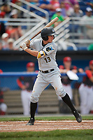 West Virginia Black Bears shortstop Andrew Walker (13) at bat during a game against the Batavia Muckdogs on June 25, 2017 at Dwyer Stadium in Batavia, New York.  West Virginia defeated Batavia 6-4 in the completion of the game started on June 24th.  (Mike Janes/Four Seam Images)