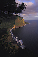 View of Waipio Velley's cliffs and black sand beach from the lookout point on the Big Island of Hawaii