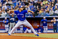25 March 2019: Toronto Blue Jays pitcher Jason Adams on the mound during an exhibition game against the Milwaukee Brewers at Olympic Stadium in Montreal, Quebec, Canada. The Brewers defeated the Blue Jays 10-5 in the first of two MLB pre-season games in the former home of the Montreal Expos. Mandatory Credit: Ed Wolfstein Photo *** RAW (NEF) Image File Available ***