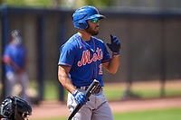 New York Mets Desmond Lindsay (2) bats during a Minor League Spring Training game against the Houston Astros on April 27, 2021 at FITTEAM Ballpark of the Palm Beaches in Palm Beach, Fla.  (Mike Janes/Four Seam Images)