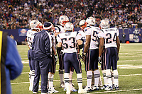 Besprechung der Special Teams der New England Patriots<br /> New York Giants vs. New England Patriots<br /> *** Local Caption *** Foto ist honorarpflichtig! zzgl. gesetzl. MwSt. Auf Anfrage in hoeherer Qualitaet/Aufloesung. Belegexemplar an: Marc Schueler, Am Ziegelfalltor 4, 64625 Bensheim, Tel. +49 (0) 6251 86 96 134, www.gameday-mediaservices.de. Email: marc.schueler@gameday-mediaservices.de, Bankverbindung: Volksbank Bergstrasse, Kto.: 151297, BLZ: 50960101