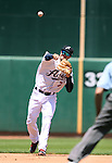 Reno Aces' Jack Reinheimer makes a play against the Iowa Cubs at Greater Nevada Field in Reno, Nev., on Tuesday, May 17, 2016. <br />Photo by Cathleen Allison