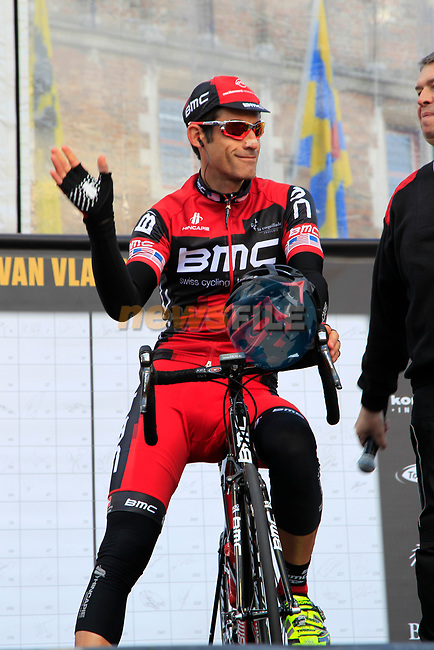 George Hincapie (USA) BMC Racing Team, who will set a new record of 17 completed Tours of Flanders if he finishes this year, on stage at sign on before the start of the 96th edition of The Tour of Flanders 2012 in Bruges Market Square, running 256.9km from Bruges to Oudenaarde, Belgium. 1st April 2012. <br /> (Photo by Eoin Clarke/NEWSFILE).