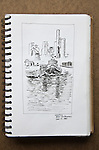 Seattle, tug and barge, East Waterway, Port of Seattle, Joel Rogers, Journal Art 2002, pen and ink,