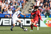 Cary, NC - Sunday October 22, 2017: Julie Ertz and Son Hwayeon during an International friendly match between the Women's National teams of the United States (USA) and South Korea (KOR) at Sahlen's Stadium at WakeMed Soccer Park. The U.S. won the game 6-0.