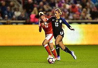 Sandy, UT - October 19, 2016: The USWNT take a 1-0 lead over Switzerland in second half action from a goal by Lynn Williams during an international friendly game at Rio Tinto Stadium.