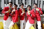 (L-R) Yusuke Tanaka, Koji Yamamuro, Ryohei Kato, Kenzo Shirai, Kohei Uchimura (JPN), <br /> OCTOBER 7, 2016 :<br /> Japanese medalists of Rio 2016 Olympic and Paralympic Games wave to spectators during a parade from Ginza to Nihonbashi, Tokyo, Japan.<br /> (Photo by Yusuke Nakanishi/AFLO SPORT)
