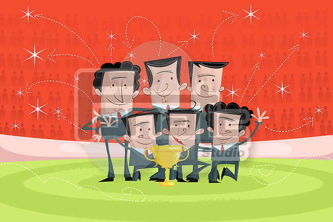 Illustrative image of happy businessmen with trophy celebrating victory
