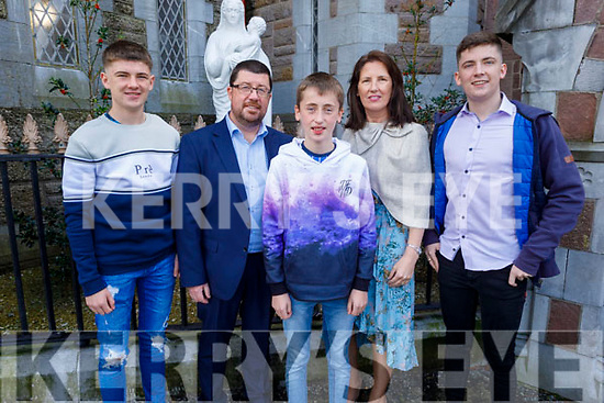 Brian Kavanagh former student of Blennerville NS receiving his Confirmation in St John's Church on Saturday. L to r: Ciaran, Ronan, Connor and Helene Kavanagh.