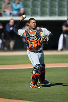 Delmarva Shorebirds catcher Yermin Mercedes (17) makes a throw to first base against the Kannapolis Intimidators at Kannapolis Intimidators Stadium on April 13, 2016 in Kannapolis, North Carolina.  The Intimidators defeated the Shorebirds 8-7.  (Brian Westerholt/Four Seam Images)