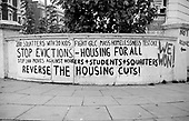 Graffiti protesting at cuts in housing spending and the eviction of squatters, by the Greater London Council, from houses in Elgin Avenue in 1975.