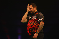 26th May 2021; Marshall Arena, Milton Keynes, Buckinghamshire, England; Professional Darts Corporation, Unibet Premier League Night 15 Milton Keynes; Jonny Clayton reacts as he fails to check out against Peter Wright