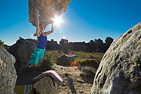 Shauna Coxsey climbs 'The Rhino' 7b+/V8 in Rocklands, South Africa