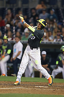 Blake Sabol (27) of the West team bats during the 2015 Perfect Game All-American Classic at Petco Park on August 16, 2015 in San Diego, California. The East squad defeated the West, 3-1. (Larry Goren/Four Seam Images)