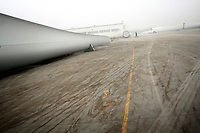 CHINA. Hebei.  A wing turbine blade, outside a factory producing wind turbines in Baoding City near Beijing, the world's first 'carbon positive' town. The town's main industires focus on producing wind and solar technologies. 2009