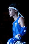 Xiao Feng (Blue) of China enters to the ring prior the male muay 54KG division weight bout against Liu Hin Chung  (Not in picture) of Hong Kong during the East Asian Muaythai Championships 2017 at the Queen Elizabeth Stadium on 13 August 2017, in Hong Kong, China. Photo by Yu Chun Christopher Wong / Power Sport Images
