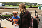 """Noble Tune, ridden by Ramon Dominguez, win the """"Win & You're In"""" Pilgrims Stakes (GIII) for 2-year olds, going 1 1/16 on the inner turf at Belmont Park, Elmont, New York.  Trainer Chad Brown.  Owner Martin Schwartz and Dell Ridge Farm, LLLC."""