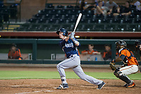 AZL Padres 2 designated hitter Blake Hunt (27) follows through on his swing against the AZL Giants on July 13, 2017 at Scottsdale Stadium in Scottsdale, Arizona. AZL Giants defeated the AZL Padres 2 11-3. (Zachary Lucy/Four Seam Images)
