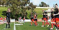 20180228 - LARNACA , CYPRUS :  Belgian assistant coach Kris Van Der Haegen (left) pictured leading during warming up of the women's soccer game between The Belgian Red Flames and the Czech Republic , on wednesday 28 February 2018 at GSZ Stadium in Larnaca , Cyprus . This is the first game in group B for Belgium during the Cyprus Womens Cup , a prestigious women soccer tournament as a preparation on the World Cup 2019 qualification duels. PHOTO SPORTPIX.BE   DAVID CATRY